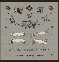 set vintage hipster ribbon arrow alphabet vector image