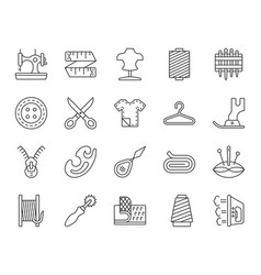 sewing simple black line icons set vector image