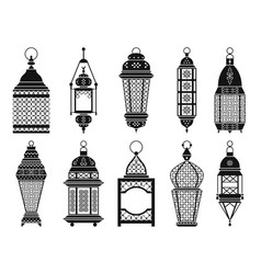 Silhouette of vintage arabic lanterns and vector