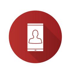 smartphone user flat design long shadow glyph icon vector image