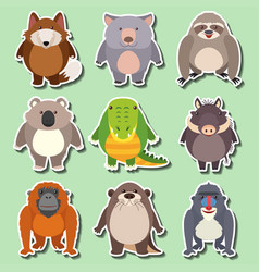 Sticker design for wild animals on green vector