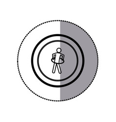 Sticker of monochrome pictogram with training in vector