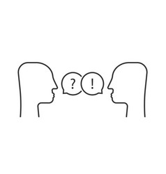 thin line dialogue between two people vector image
