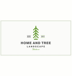 tree and house logo design inspiration vector image