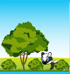 Tree and shrubbery on year glade and wildlife vector