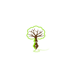 Tree nib write line logo design icon vector