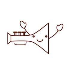 trumpet musical instrument kawaii character vector image