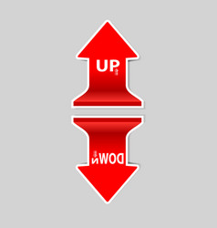 up and down signs arrow with shadow vector image