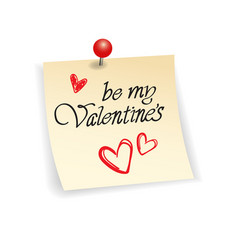 valentine day sticker typography note with hand vector image