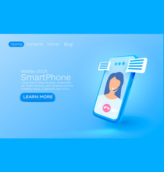 video chat smartphone mobile screen technology vector image