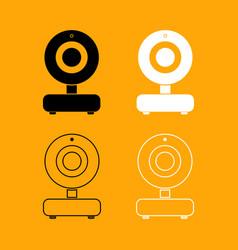 web camera black and white set icon vector image