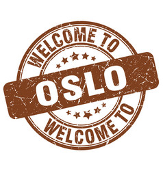 welcome to oslo brown round vintage stamp vector image