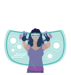 Woman using technology augmented reality vector