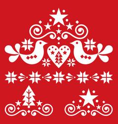 Xmas scandinavian white folk art design set vector
