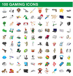 100 gaming icons set cartoon style vector image