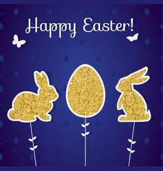 easter golden decoration in form of bunny and egg vector image vector image