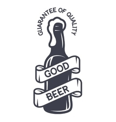A bottle of beer and a ribbon for text vector image
