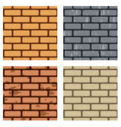 brick wall seamless pattern set vector image vector image