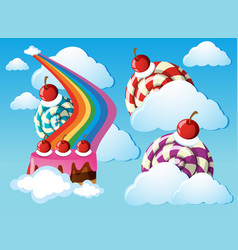 Candy land with lollipops and rainbow in the sky vector