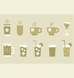 drinks and beverage monotone icon set vector image
