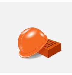 helmet and bricks at a construction site vector image vector image
