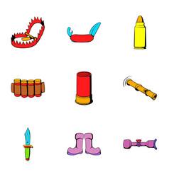 hunt icons set cartoon style vector image