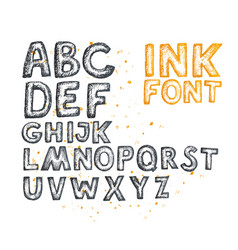 ink drawn font vector image vector image