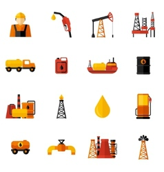 Oil industry icons flat vector