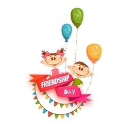 Red ribbon with Friendship Day title children vector image vector image