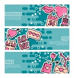 Set of Horizontal Banners about Valentines Day vector image vector image