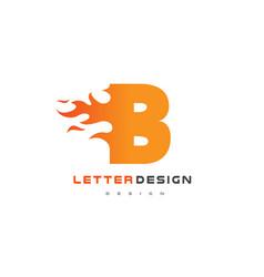 b letter flame logo design fire logo lettering vector image vector image