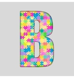 Color piece puzzle jigsaw letter - b vector