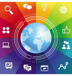 internet concept with rainbow background vector image vector image