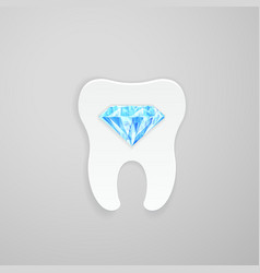 Tooth with blue diamond vector image vector image