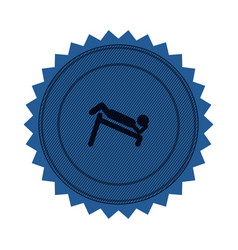 blue circular seal with abdominal training on vector image vector image