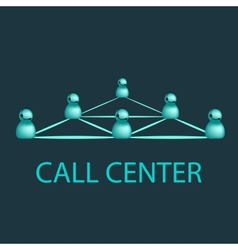 Call center emblem support logo design vector image