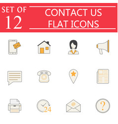 Contact us solid icon set web communication signs vector