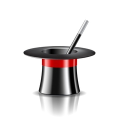 Magic hat and magic wand on white background vector image vector image