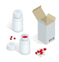 Modern pill bottle for pills or capsules Isolated vector image