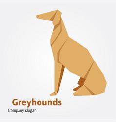 origami dog breed greyhound vector image