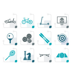 stylized sports equipment and objects icons vector image vector image