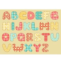 vintage quilt alphabet vector image vector image