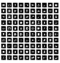 100 kitchen icons set grunge style vector