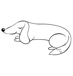 a children coloring bookpage a sleeping dog image vector image