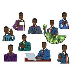 African or afro black successful businessman with vector image
