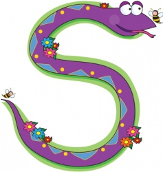 Animal alphabet snake vector