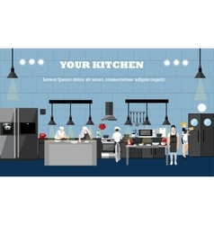 Banner with restaurant interiors Chefs vector