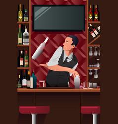 Bartender in action vector