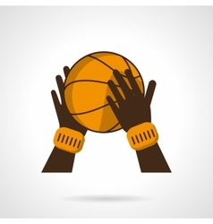 Basketball hands flat color icon vector
