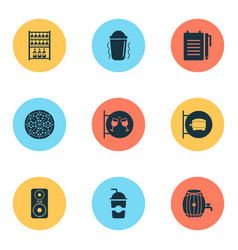 beverages icons set with shaker in action ale vector image